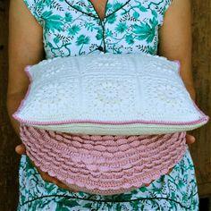 PDF Crochet Pattern Popcorn & Lace Square Pillow by MyRoseValley