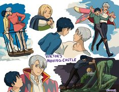 Yuri!!! On Ice (ユーリ!!! On ICE) & Howl's Moving Castle (ハウルの動く城) crossover - Viktor's Moving Castle!