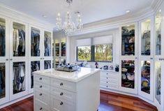 Modern Closet with Dressing room, Window seat, Calacatta Carrara Marble…