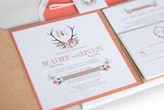 Rustic Antler and Floral Pocket Fold Wedding Invitation: HEATHER. Coral, Bakers Twine
