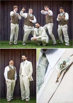 Similar style:  Brian in a suit.  Jim & Timmy in a vest and tie.  NOTE:  love the pin idea instead of a flower