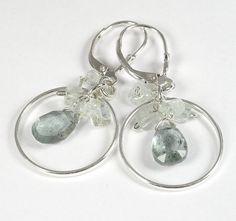 Aquamarine Briolette Hoop Earrings Faceted by PlatiniFineJewellery
