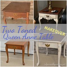 Two toned Queen Anne end table makeover from @infarrantly #paintedfurniture