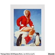 Vintage Retro Gil Elvgren North Pole Pinup Girl