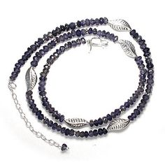 Iolite Beaded Necklace with Sterling Leaves