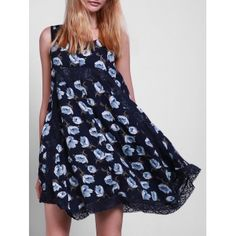 Casual Style Scoop Collar Sleeveless Floral Print Lace Splicing Women's Sun Dress