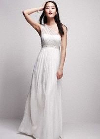Charming but sophisticated, this long soft one shoulder mesh stunner is the perfect wedding dress for fall!  Intricately beaded waist provides the ideal amount of dazzling drama.  Embellishment on shoulder is right on trend.  Available in White.  Fully lined. Side Zip. 100% polyester, woven stretch/mesh fabric blend.Dry Clean Only.