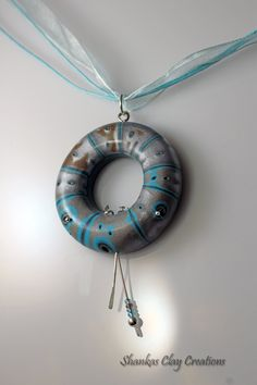 Polymer Clay Air Pendant - hand crafted - WEARABLE ART!!! blue and grey by shankas on Etsy