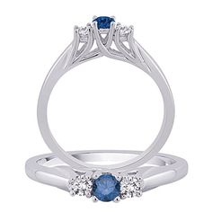 Center Blue Diamond ThreeStone Diamond Ring in 14K White Gold 12 cttw * Details can be found by clicking on the image.(This is an Amazon affiliate link and I receive a commission for the sales)