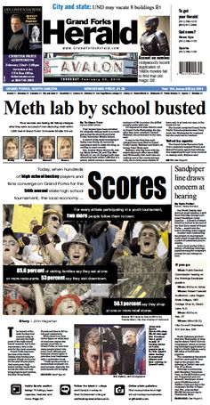 Feb. 20, 2014 #GrandForksHerald #Newspaperdesign #Frontpage #JanelleVonasek