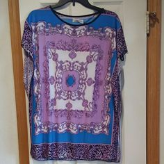 Purple and blue silk top Purple and blue silk top. 65%silk 35% polyester. Size large Tops Blouses