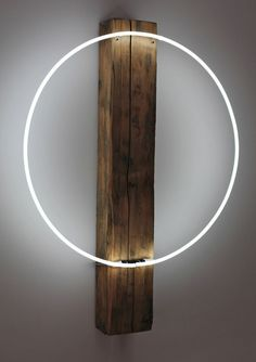 Wood and neon lamp / art piece