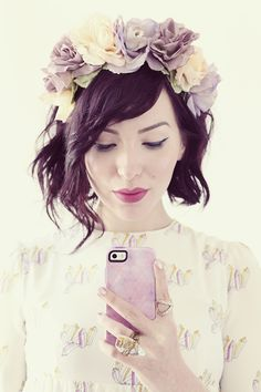 love the floral crown + phone case :)