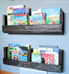 DIY Shelf Pallets to organize books. Did these in both boys rooms!! LUV they are awesome! My 2 yr old uses his for books! 9 yr old uses his for his Wii game holder...