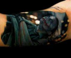 Joker tattoo, heath ledger, the dark knight, batman  http://khantattoo.com/tattoos/realistic-color/ :) realistic tattoo