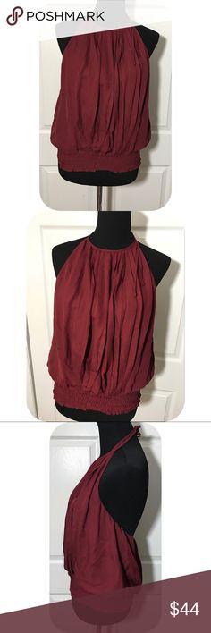 NWT Rebecca Minkoff Silk Pleated Halter Backless Authentic - backless silk Pleated halter - lined - wine colored Rebecca Minkoff Tops