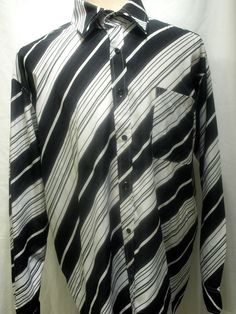 Versace Jeans Couture mens button front shirt black and white stripes size XL