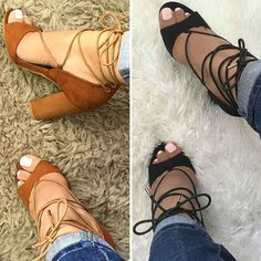 Chunky Lace Up Sandal Heels