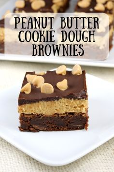 Peanut Butter Cookie Dough Brownies recipe from RecipeGirl.com #peanut #butter #peanutbutter #pb #cookie #dough #cookiedough #brownies #recipe #RecipeGirl Fun Baking Recipes, Easy Delicious Recipes, Best Dessert Recipes, Fun Desserts, Yummy Food, Easy Recipes, Cookie Dough Desserts, Cookie Dough Brownies, Peanut Butter Cookie Recipe
