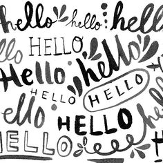 """Say """"hello"""" to another beautiful weekend! #handlettering #hello #hellohello #lettering #blackandwhite • PSD 