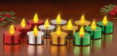 Set of 12 Multi-Color Metallic LED Tealights