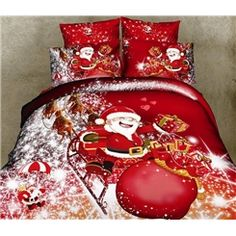 Buy christmas gift Santa Claus red bedding set queen king size doona duvet covers quilts comforter pillow bed Linen sets at Wish - Shopping Made Fun Red Duvet Cover, Quilt Cover, Duvet Cover Sets, Pillow Covers, Pillow Set, Blanket Cover, Bed Covers, Red Bedding Sets, Queen Bedding Sets