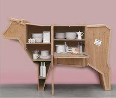 Marcantonio Raimondi Malerba, Seletti, Sending Animals, cupboard, wood, animals