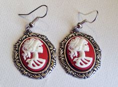 Red Lolita Day of the Dead Cameo Earrings by Bluebirdsanddaisies, £4.50