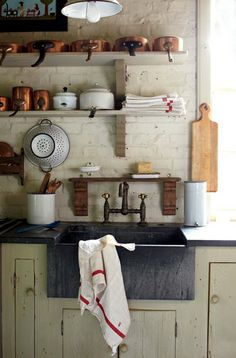 Old world charm kitchen. Love the rustic feel. - via Jennings & Gates blog
