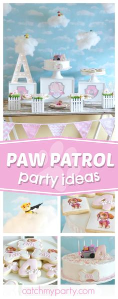 Check out this awesome little girls Paw Patrol birthday party! The dessert table and sky backdrop are fantastic!! See more party ideas and share yours at CatchMyParty.com
