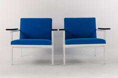 George Nelson Steel Frame Lounge Chairs, 1950's   From a unique collection of antique and modern lounge chairs at https://www.1stdibs.com/furniture/seating/lounge-chairs/