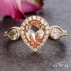 14KR HALO RING WITH PS PEACH SAPPHIRE #GreenLakeJewelry