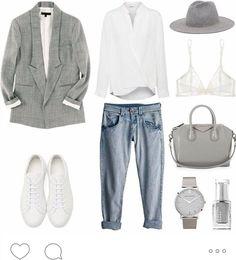 #inspiration #mode #casual #jean #blanc #gris