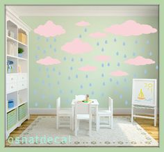FREE SHIPPING Wall Decal 22 Pink Clouds & 65 Blue Raindrops.Nursery Wall Decal. Vinyl Wall Decal. Kids Wall Decal.