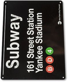 """Tin sign #""""subway 161 #yankee stadium"""" metal new york #street garage store a6,  View more on the LINK: http://www.zeppy.io/product/gb/2/281632051407/"""