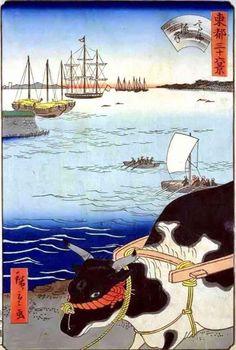 (Japan) 高輪海 by Utagawa Hiroshige (1787- 1858). 100 Famous views of Edo. colors on paper. woodblock print.