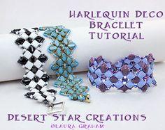 Harlequin Deco Bracelet Pattern, Silky Two Hole Diamond Bracelet Tutorial, Beadweaving Cuff Style Instructions, Laura Graham Design.