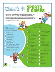 Variety of activities for fun and learning.Week 9: Sports & Games | Education.com