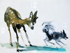 : Janusz Grabianski - portrait of  Rogas and the Wolf.
