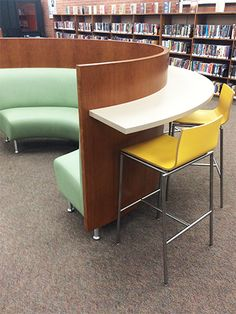 Fun colors and functionality make Hampton curved banquettes sensational for teen library spaces. Pair with a back panel shelf and Sensi stools, and you've got a teen space patrons will love.