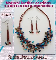 Natural leather earrings to match glass bead and leather necklace