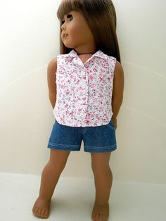 Denim Shorts and Swiss Dot Floral Sleeveless Blouse by 18Boutique, $22.00