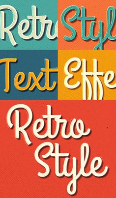 Retro Text Effect – Text Effects, Retro Fashion, Designers, Typography, Templates, Create, Letterpress, Models, Stenciling