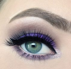 Purple on the lid, taupe in the crease, lilac shim