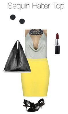 """""""Untitled #1917"""" by yvettestarr on Polyvore featuring Boohoo, MM6 Maison Margiela, Sigerson Morrison and MAC Cosmetics"""