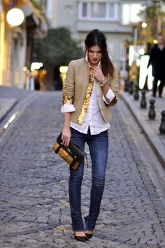 Linen and jeans balance the high wattage of gold paillettes perfectly.