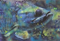 Blue Walleye Fish Fine Art Print Reproduction Watercolor Painting