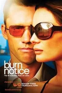 Burn Notice.  Pretty much the only show I can currently get the hubs to sit still through.  :)