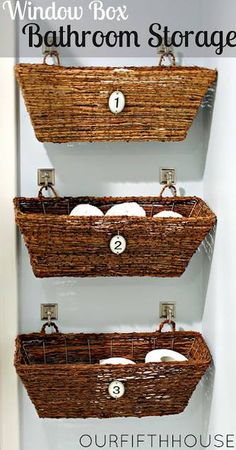 Bathroom storage. Great idea to hang on an empty wall or under the cabinets in bathroom or even in the closet. I'm going to try this one (probably won't number them).   Picture source: A Cooking and Crafting Journey - https://www.facebook.com/ACookingJourney                                                                                                                                                                                 More
