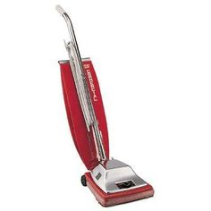 Electrolux Sanitaire Quick Kleen Commercial Vacuum with Vibra-Groomer II lbs, Red Upright vacuum cleaner has a motor, Quick Kleen® fan Best Canister Vacuum, Best Steam Cleaner, Roller Bar, Steam Cleaners, Vacuum Cleaners, Eureka Vacuum, Pile Driver, Commercial Vacuum, Garage Organisation